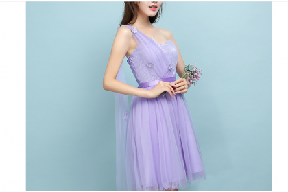 ELFBOUTIQUE 201710 Bridesmaid Short Dress Purple 5 designs