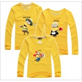 171034 AURORA Family Long Sleeve T shirt Minion Dad + Mom + 1 kid FREE SHIPPING (7 COLOURS AVAILABLE)