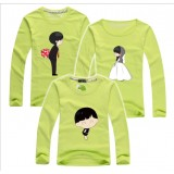 171037 AURORA Family Long Sleeve T shirt Dad + Mom + 1 kid FREE SHIPPING (7 Colours Avalaible)