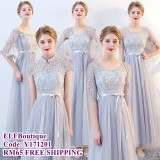 171201 ELFBOUTIQUE Bridemaid Long Dress Pink Grey Champagne budget custom made FREE SHIPPING