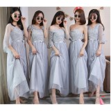6655 ELFBOUTIQUE PREMIUM Elegant Dinner Gown Long Dress FREE SHIPPING Grey, Pink, Champagne