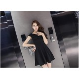 9214 ELFBOUTIQUE Korean Off Shoulder Dinner Dress/ Black