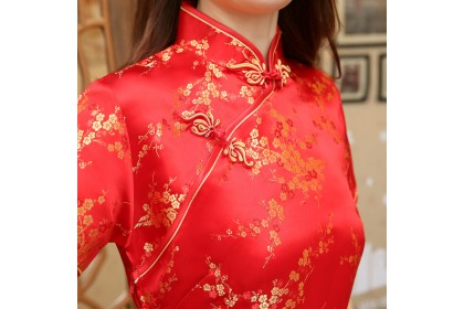 1102 Red Gold Cheong Sam Modified Cheongsam Chinese Year Short Long Dress Traditional