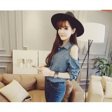 171110 READY STOCK Taiwan Imported Off Shoulder Jeans Blouse