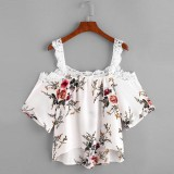 Taiwan Imported Off Shoulder Lacy Floral Printed Blouse Lace