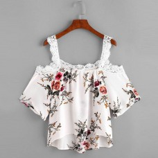 171111 Taiwan Imported Off Shoulder Lacy Floral Printed Blouse Lace