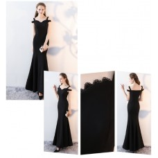 66604 ELF European Off Shoulder Dinner Gown Premium FREE SHIPPING/ Black