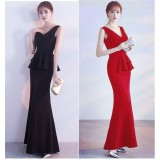 66837 ELF European Off Shoulder Dinner Gown Premium FREE SHIPPING/ red, black
