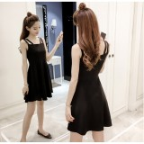 66692 ELF Korean Designed Casual Dress Plain Design A line Dress Off Shoulder
