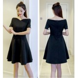 66694 ELF BOUTIQUE Korean Designed Casual Dress Plain Design A line Dress Off Shoulder
