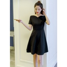 66694 ELF BOUTIQUE Korean Designed Casual Dress Plain Design A line Dress Off Shoulder