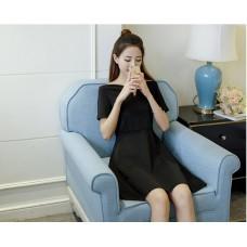 66694 Korean Designed Casual Dress Plain Design A line Dress Off Shoulder