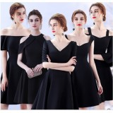 17040S ELF PREMIUM Bridesmaid sister dress /Black dinner gown off shoulder/ long sleeve dress/ mini midi/ maxi knee length dress/ party dress FREE SHIPPING