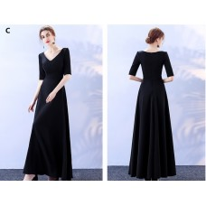 17040L ELF PREMIUM Bridesmaid sister dress /Black dinner gown off shoulder/ long sleeve dress/ mini midi/ maxi knee length dress/ party dress