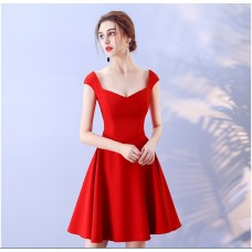 17041SMR ELF BOUTIQUE PREMIUM Bridesmaid sister dress/ Red /Maroon dinner gown /off shoulder long sleeve dress/ midi /maxi knee length dress/ party dress/ FREE SHIPPING