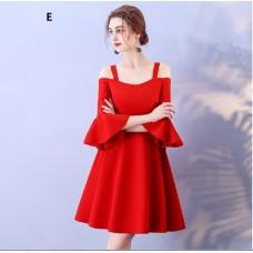 17041SR ELF PREMIUM Bridesmaid sister dress/ Red dinner gown /off shoulder long sleeve dress/ mini midi /maxi knee length dress/ party dress/ FREE SHIPPING