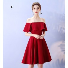 17041SM ELF PREMIUM Bridesmaid sister dress/ Maroon dinner gown /off shoulder long sleeve dress/ mini midi /maxi knee length dress/ party dress/ FREE SHIPPING