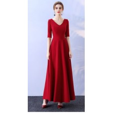 17041L ELF BOUTIQUE PREMIUM Bridesmaid sister dress/ Red and Maroon dinner gown /off shoulder long sleeve dress/midi /maxi knee length dress/ party dress/ FREE SHIPPING