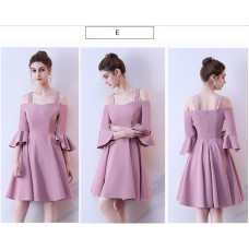 17042S ELF BOUTIQUE PREMIUM Bridesmaid sister dress/ Yam Purple dinner gown/ off shoulder long sleeve dress/midi /maxi knee length dress/ party dress FREE SHIPPING