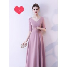 17042 ELFBOUTIQUE PREMIUM Bridesmaid sister dress /Yam Purple dinner gown /off shoulder long sleeve dress/ midi/ maxi knee length dress/ party dress