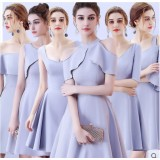 17038S ELF BOUTIQUE Bridesmaid sister dress/ Blue Grey dinner gown/ off shoulder long sleeve dress/ midi maxi knee length dress/ party dress
