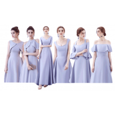 17038L ELF Bridesmaid sister dress/ Blue Grey dinner gown/ off shoulder long sleeve dress/ mini midi maxi knee length dress/ party dress