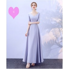 17038L ELF BOUTIQUE Bridesmaid sister dress/ Blue Grey dinner gown/ off shoulder long sleeve dress/ midi maxi knee length dress/ party dress