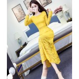 180412 ELFBOUTIQUE Yellow Imported Off Shoulder Dinner Dress Party Dress