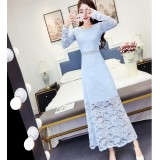 180413 ELFBOUTIQUE Blue Imported Long Sleeve Dinner Dress Party Dress