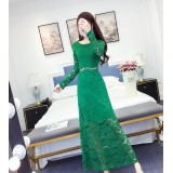 180414 ELFBOUTIQUE Green Imported Off Shoulder Dinner Dress Party Dress