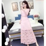 180415 ELFBOUTIQUE Pink long sleeve Dinner Dress Party Dress