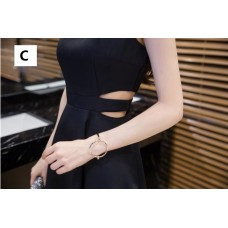 180416 Imported Off Shoulder Dinner Dress Party Dress Sleeveless black