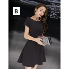 180420 ELF BOUTIQUE Black Short Sleeve Office Ladies Dress Midi Dress