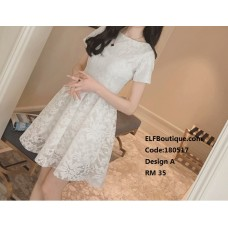 180517 ELF BOUTIQUE Short Sleeve Office Ladies Dress Midi Dress