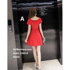 180518 ELF BOUTIQUE Short Sleeve Office Ladies Dress Midi Dress