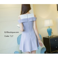 7.17 ELFBOUTIQUE Short Sleeve Office Ladies Off Shoulder Dress Midi Dress