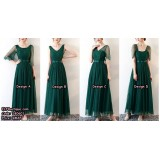 180601 Ready Stock Premium Maxi  Bridemaid Dress Long Evening Dress Dinner Dress Green