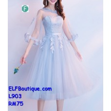 903 ELFBoutique Premium Strap Dinner Gown Midi Evening Dress custom made Free Shipping