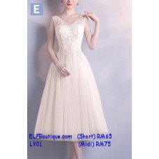 901 ELF Boutique Premium Strap Dinner Gown Midi Evening Dress custom made Free Shipping