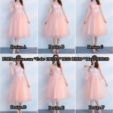 180711 ELF BOUTIQUE PREMIUM STRAP DINNER GOWN MIDI EVENING DRESS CUSTOM MADE FREE SHIPPING Peach color