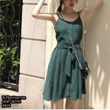 180751 Jade Green Casual Dress String Ribbon Dress