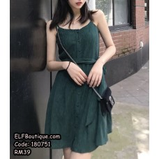 180751 Jade Green Casual Dress String Ribbon Dress