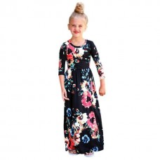 180804 AURORA GIRL FLORAL MAXI DRESS (KIDS) Navy/Black/Green/Pink/White