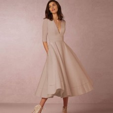 180797 European Deep V Mid Sleeve Dinner Evening Midi Gown