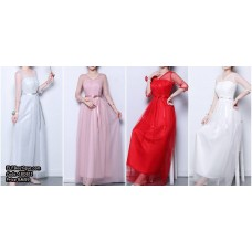 180811 ELFBOUTIQUE Bridesmaid dinner dress evening grown Bean, Grey, Red, White FREE SHIPPING Budget custom made