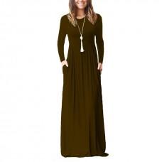 6194 AURORA MAXI DRESS/LONG SLEEVE GROWN Black, Blue, Green, Brown, Wine Red