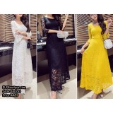 180791 Premium Lacey Dinner Gown Long Dress Evening Gown Yellow, White, Black