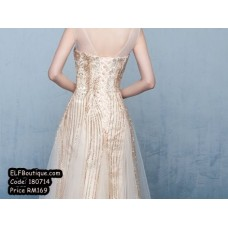 180714 ELFBOUTIQUE GOLD PREMIUM QUALITY Dinner Gown Dress Evening Dress Free Shippping