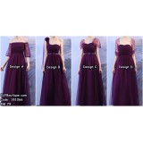 181066 Wedding Bridesmaid Sisters Long Dress (PURPLE)
