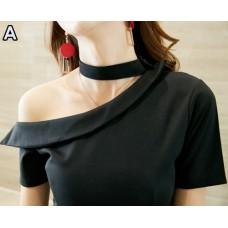 1106 Black Imported Off Shoulder One Shoulder Dinner Dress Party Dress